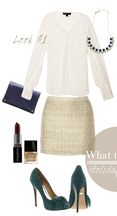 white-mini-skirt-white-top-blouse-sequin-bib-necklace-green-shoe-pumps-blue-bag-clutch-nail-howtowear-fashion-style-outfit-fall-winter-holiday-party-dinner.jpg