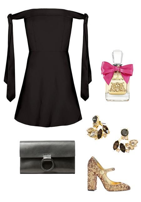 black-dress-mini-offshoulder-tan-shoe-pumps-metallic-studs-black-bag-clutch-howtowear-fashion-style-outfit-fall-winter-holiday-dinner.jpg