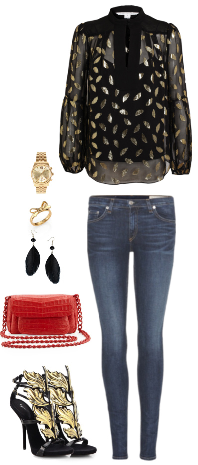 blue-med-skinny-jeans-black-top-blouse-metallic-print-black-shoe-sandalh-red-bag-earrings-watch-howtowear-fashion-style-outfit-fall-winter-holiday-dinner.jpg