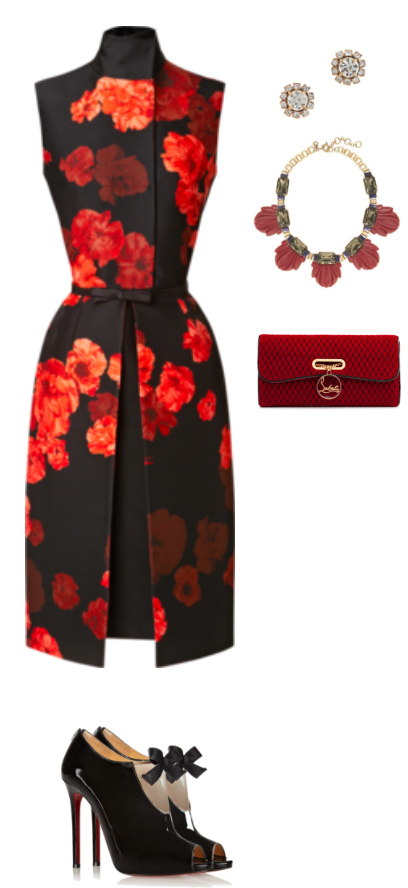 red-dress-aline-floral-print-red-bag-clutch-bib-necklace-studs-black-shoe-sandalh-howtowear-fashion-style-outfit-fall-winter-holiday-dinner.jpg