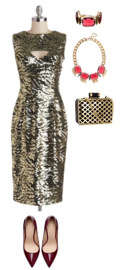 o-tan-dress-shift-burgundy-shoe-pumps-bib-necklace-tan-bag-clutch-bracelet-gold-metallic-howtowear-fashion-style-outfit-fall-winter-holiday-party-dinner.jpg