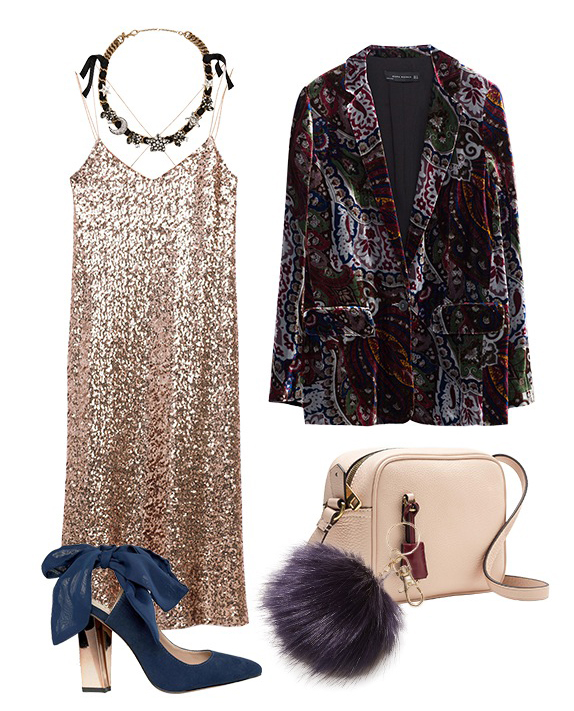 o-tan-dress-slip-sequin-burgundy-jacket-blazer-velvet-print-tan-bag-blue-shoe-pumps-necklace-howtowear-fashion-style-outfit-fall-winter-holiday-officeparty-dinner.jpg