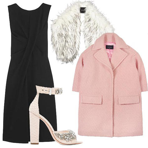 black-dress-shift-white-scarf-stole-pink-light-jacket-coat-white-shoe-sandalh-howtowear-fashion-style-outfit-fall-winter-holiday-lbd-dinner.jpg