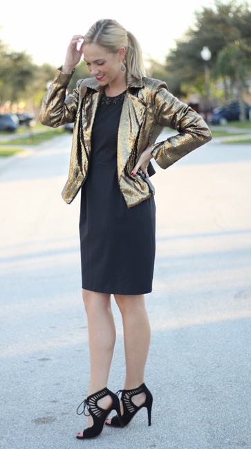 black-dress-shift-tan-jacket-metallic-gold-black-shoe-sandalh-blonde-earrings-pony-howtowear-fashion-style-outfit-fall-winter-holiday-dinner.jpg