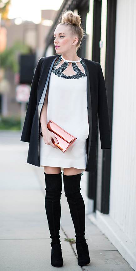 white-dress-mini-black-jacket-blazer-boyfriend-bun-blonde-black-shoe-boots-orange-bag-clutch-style-outfit-fall-winter-holiday-dinner.jpg