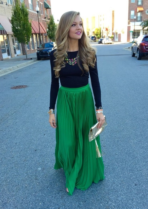 green-emerald-maxi-skirt-black-tee-bib-necklace-tan-bag-clutch-blonde-howtowear-fashion-style-outfit-fall-winter-holiday-dinner.jpg