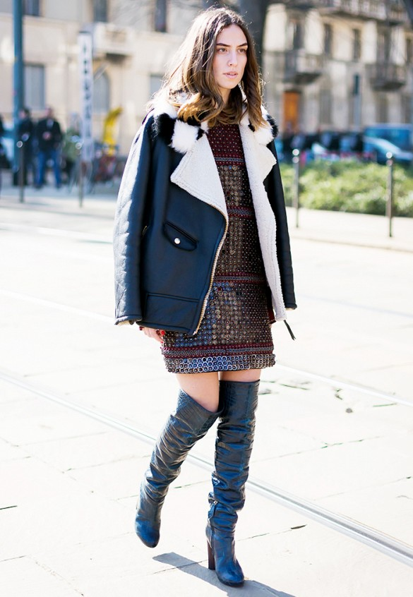 r-burgundy-dress-shift-print-embellished-black-jacket-coat-shearling-hairr-black-shoe-boots-howtowear-fashion-style-outfit-fall-winter-holiday-dinner.jpg