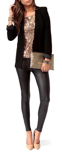 black-leggings-o-tan-top-sequin-black-jacket-blazer-tan-shoe-pumps-tan-bag-clutch-bracelet-brun-howtowear-fashion-style-outfit-fall-winter-holiday-dinner.jpg