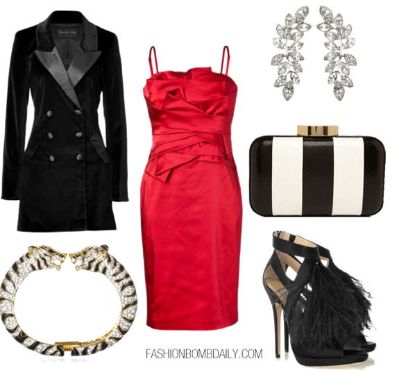 red-dress-bodycon-black-jacket-coat-black-shoe-sandalh-black-bag-clutch-stripe-bracelet-earrings-silk-blacktieholidayparty-howtowear-fashion-style-outfit-fall-winter-holiday-dinner.jpg