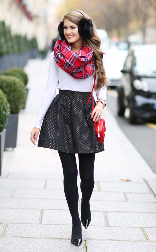 black-mini-skirt-white-tee-red-scarf-plaid-red-bag-black-tights-black-shoe-pumps-hairr-earmuffs-howtowear-fashion-style-outfit-fall-winter-holiday-party-dinner.jpg