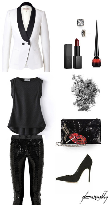 black-slim-pants-black-tee-white-jacket-blazer-tuxedo-sequin-black-shoe-pumps-black-bag-studs-howtowear-fashion-style-outfit-fall-winter-holiday-dinner.jpg