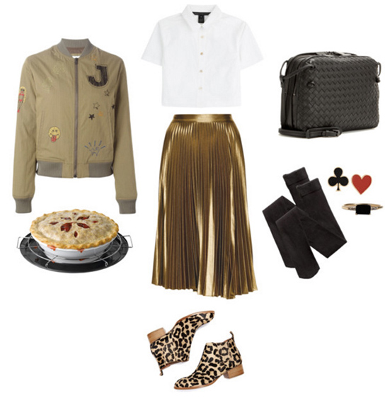 tan-midi-skirt-white-top-blouse-tan-jacket-bomber-black-bag-black-tights-tan-shoe-booties-leopard-studs-pleat-metallic-fall-winter-holiday-dinner.jpg