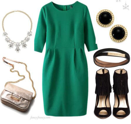 green-emerald-dress-shift-black-shoe-sandalh-bib-necklace-studs-belt-tan-bag-officeparty-howtowear-fashion-style-outfit-fall-winter-holiday-dinner.jpg