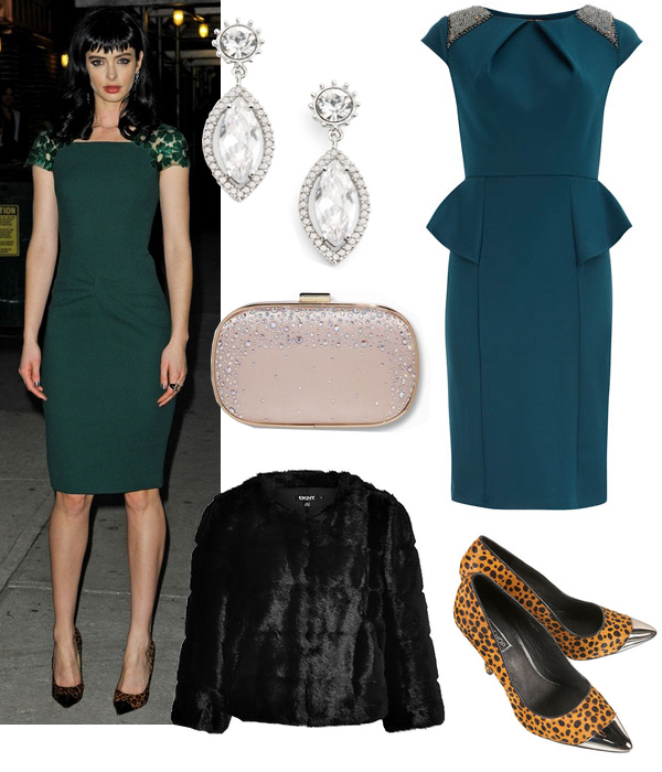 blue-navy-dress-shift-black-jacket-coat-fur-fuzz-earrings-tan-shoe-pumps-leopard-office-party-tan-bag-clutch-teal-howtowear-fashion-style-outfit-fall-winter-holiday-dinner.jpg