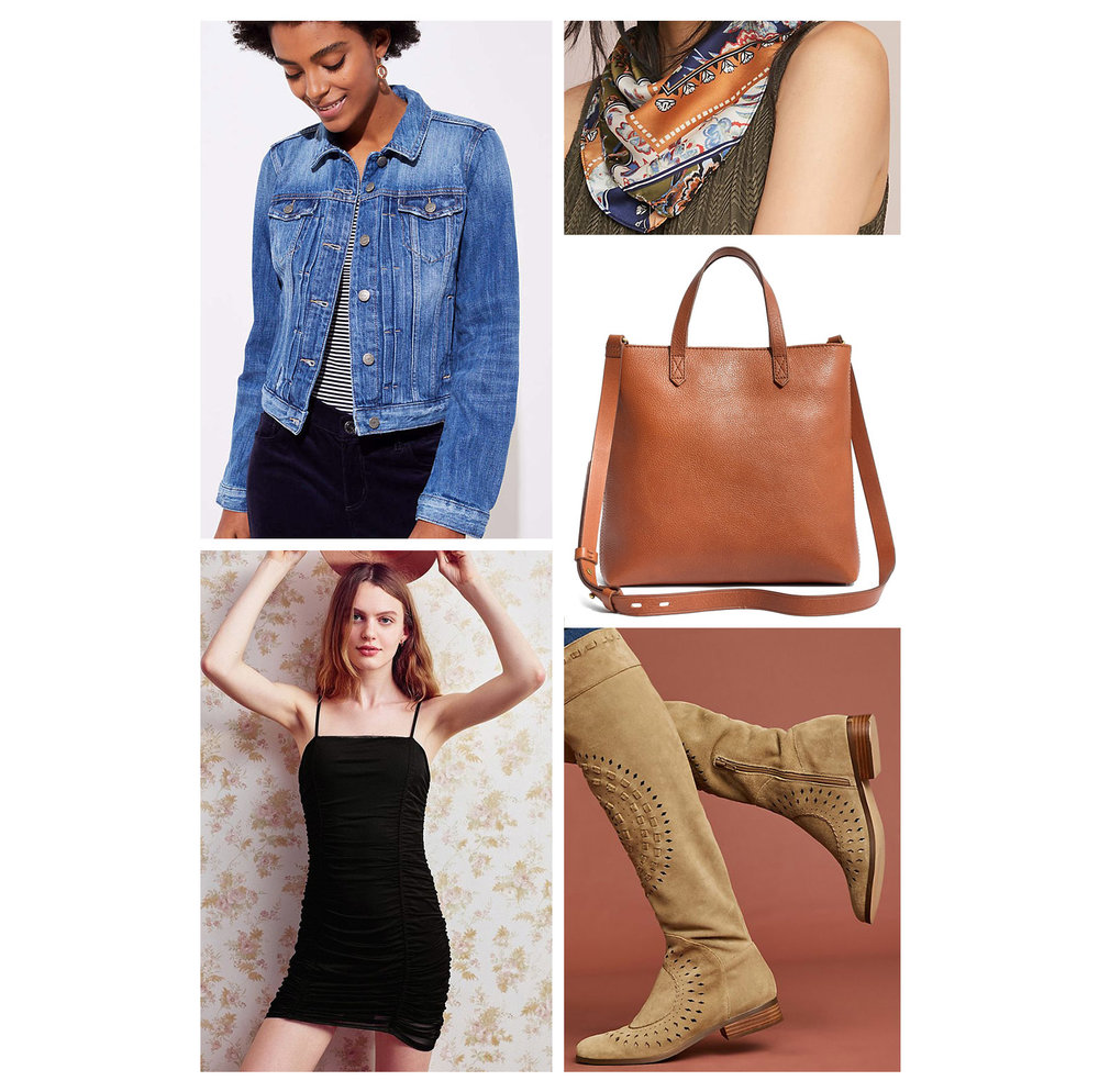 Fall weekend casual outfit idea - black bodycon dress, blue denim jacket, silk neck scarf, cognac crossbody bag, and tan knee-high boots!
