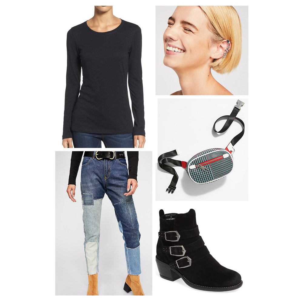 Fall weekend casual outfit idea - mom patchwork jeans, black T-shirt, houndstooth belt bag, ear cuff, and black buckle booties!
