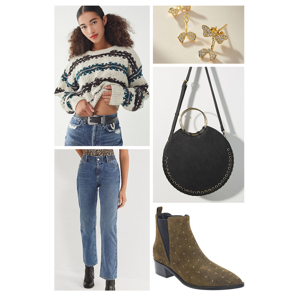 Fall weekend casual outfit idea - boyfriend jeans, white stripe chunky sweater, gold butterfly post earrings, black buckle booties, and round bag!