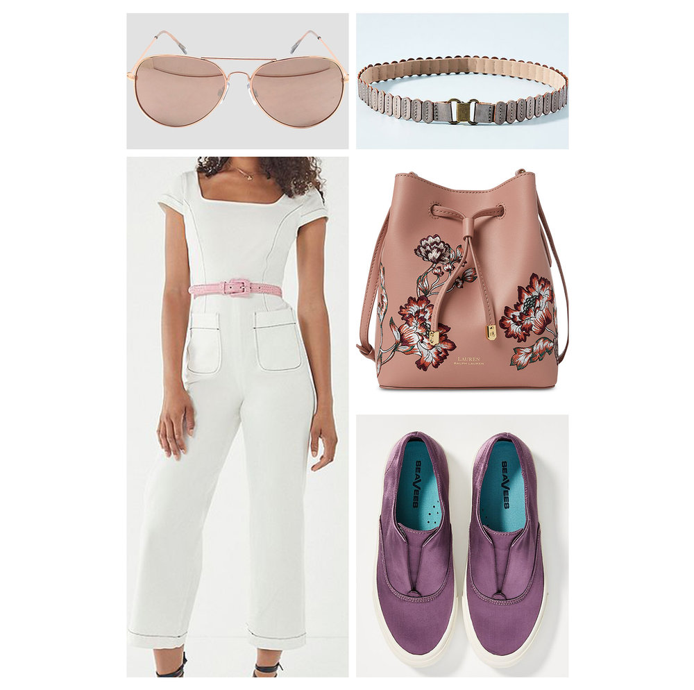 Fall lunch outfit idea - wear a white jumpsuit, pink floral embroidered bucket bag, aviator sunglasses, waist belt, and purple slip-on sneakers!