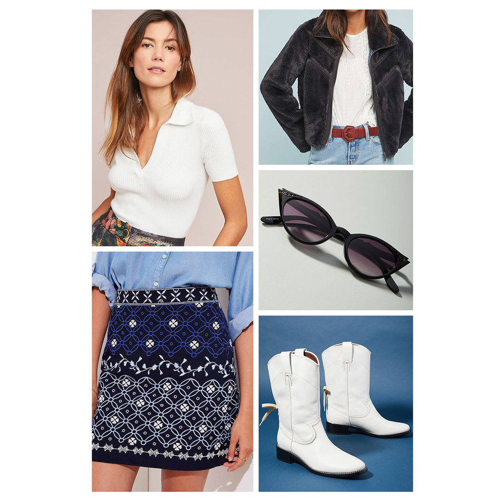 Fall lunch outfit idea - wear a navy blue printed mini skirt, white polo tee, black fuzzy bomber jacket, cat-eye sunglasses, and white cowboy boots!