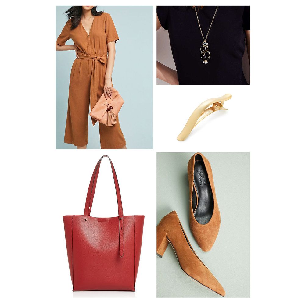 Fall work outfit idea - a camel tie-front jumpsuit, red tote bag, pendant necklace, gold hair clip, and suede pumps!