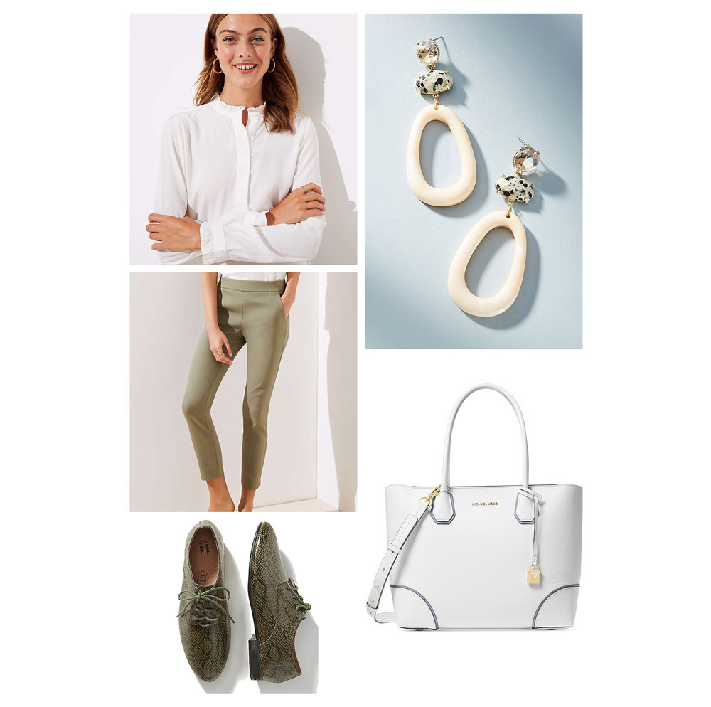 Fall work outfit idea - olive green slim pants, white blouse, tote bag, snakeskin brogues, and white statement drop earrings!