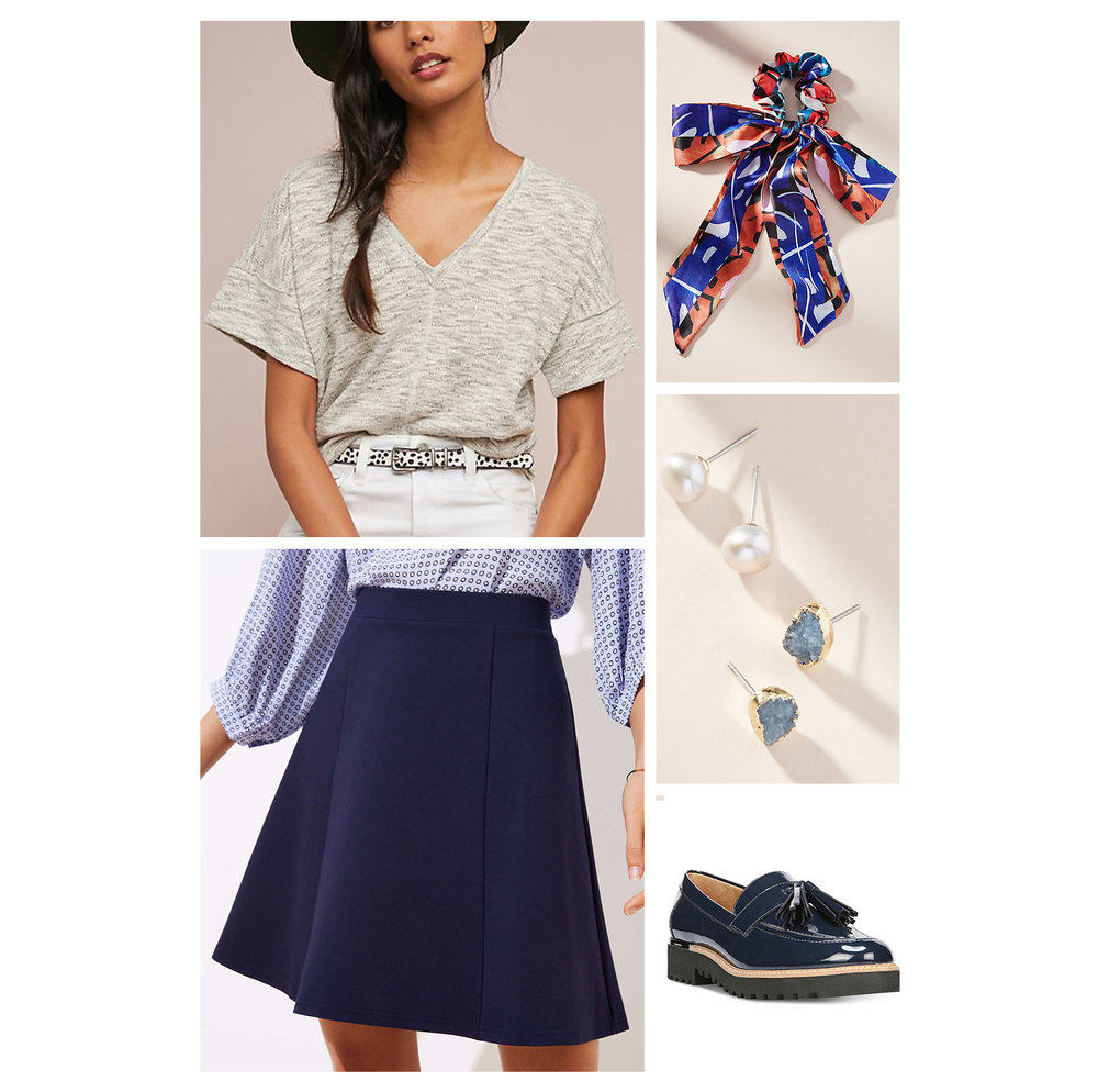 Fall work outfit idea - navy blue A-line skirt, gray tee, printed scarf hair tie, studs earrings, and patent leather tassel loafers!