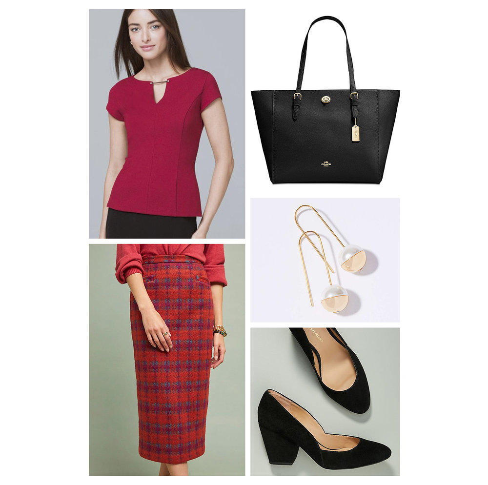 Fall work outfit idea - red plaid midi skirt, sleek top, black tote bag, pearl earrings, and black pumps!