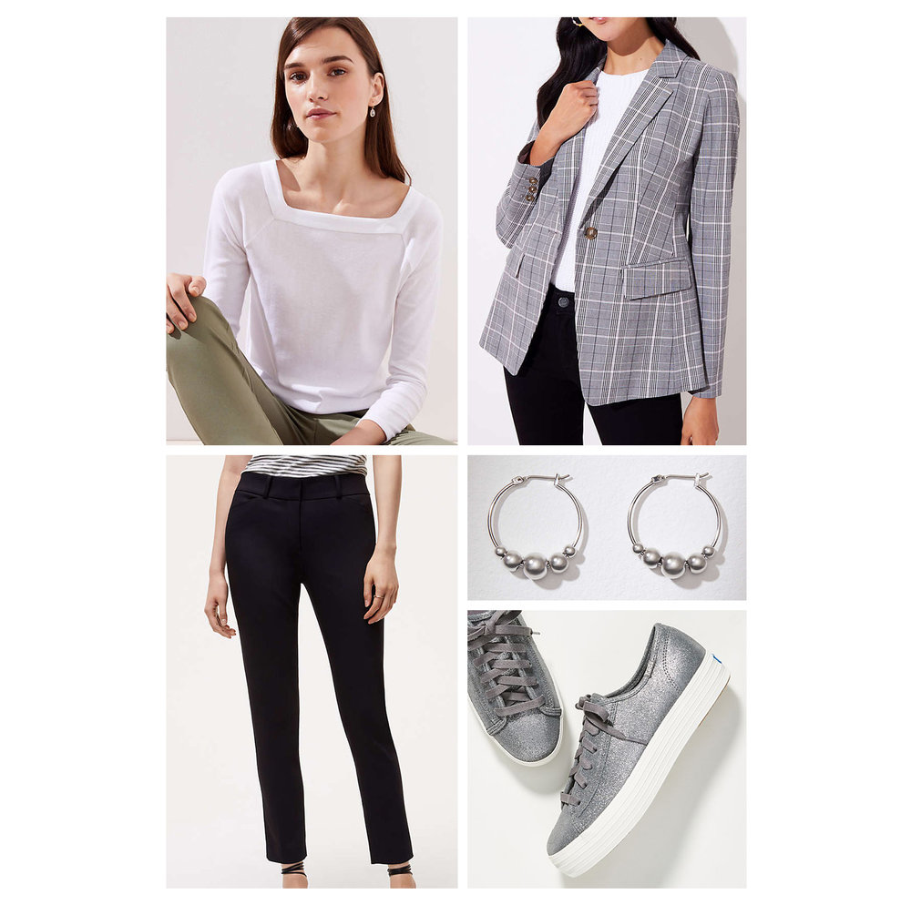 Fall work outfit idea - black slim pants, white tee, gray plaid blazer, silver hoop earrings, and metallic sneakers!