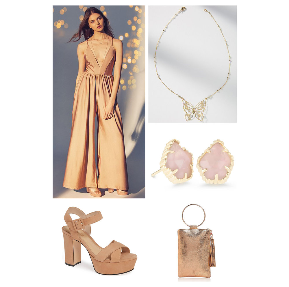 Fall dinner outfit idea - monochromatic outfit with a gold jumpsuit, tan platform sandal heels, butterfly necklace, pink stone earrings, and gold round handle clutch!