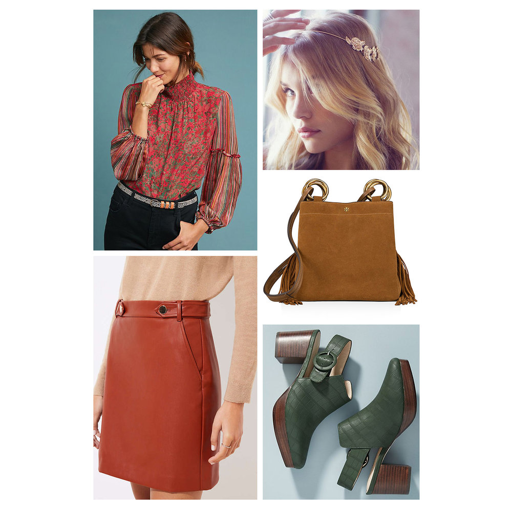 Fall dinner outfit idea - orange leather mini skirt, floral print peasant blouse, gold floral hair wrap, green clog booties, and cognac suede bag!