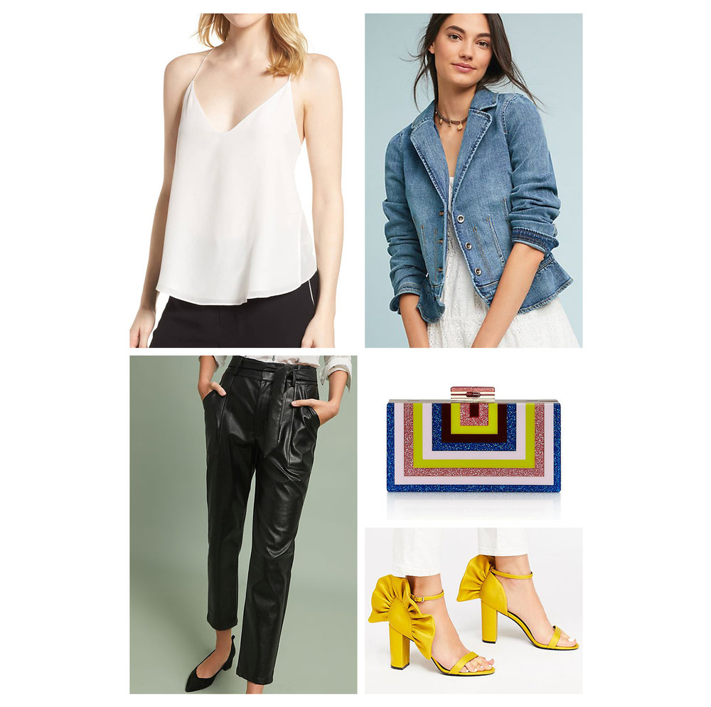 Fall dinner outfit idea - black jogger pants, white camisole, blue denim blazer, yellow heel sandals, and striped clutch!