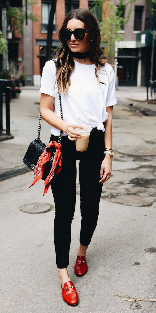 black-skinny-jeans-white-tee-red-scarf-bandana-black-bag-sun-hairr-red-shoe-loafers-howtowear-valentinesday-outfit-fall-winter-weekend.jpg