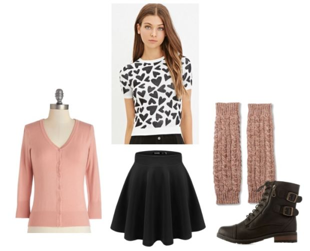 black-mini-skirt-white-top-heart-print-legwarmers-black-shoe-booties-pink-light-cardigan-howtowear-valentinesday-outfit-fall-winter-weekend.jpg