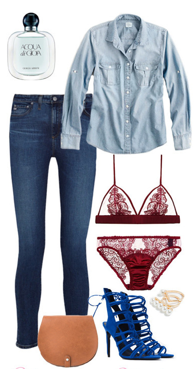 blue-navy-skinny-jeans-blue-light-collared-shirt-blue-shoe-sandalh-tan-bag-lingerie-howtowear-valentinesday-outfit-fall-winter-lunch.jpg