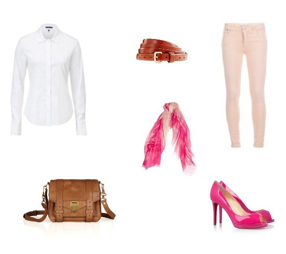 peach-skinny-jeans-belt-white-collared-shirt-pink-shoe-pumps-pink-scarf-cognac-bag-howtowear-valentinesday-outfit-fall-winter-lunch.jpg