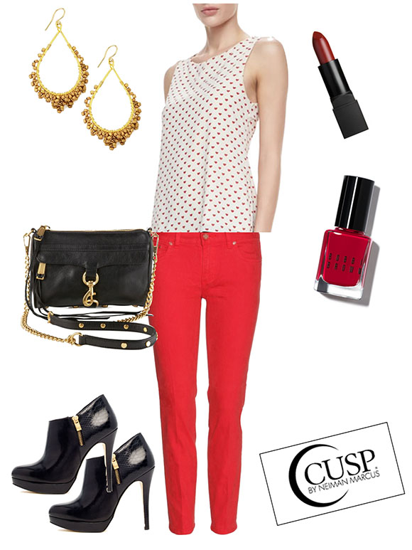 red-skinny-jeans-white-top-heart-print-earrings-nail-black-bag-black-shoe-booties-howtowear-valentinesday-outfit-fall-winter-lunch.jpg