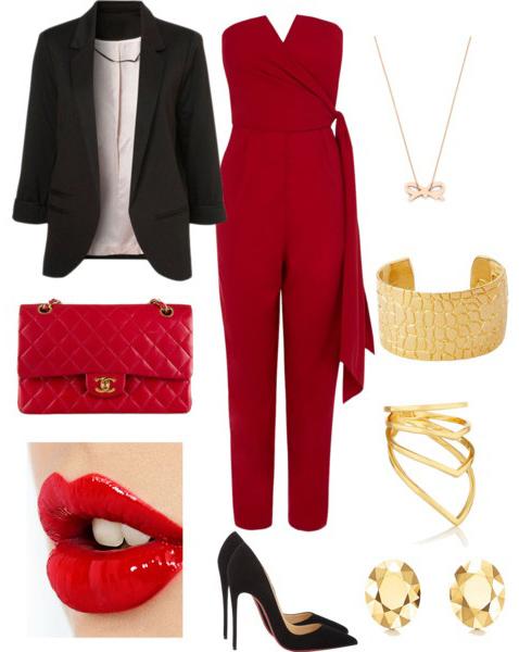 red-jumpsuit-strapless-black-jacket-blazer-bracelet-necklace-red-bag-black-shoe-pumps-howtowear-valentinesday-outfit-fall-winter-dinner.jpg