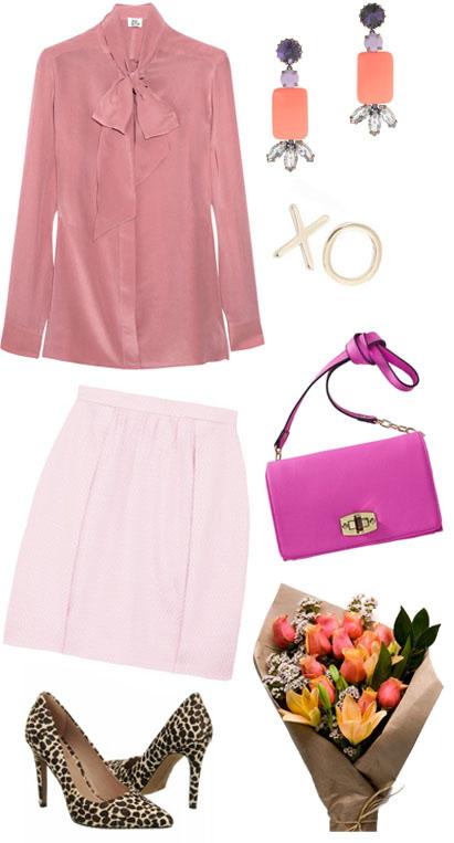 pink-light-mini-skirt-pink-light-top-blouse-bow-pink-bag-earrings-tan-shoe-pumps-leopard-print-tonal-howtowear-valentinesday-outfit-fall-winter-dinner.jpg