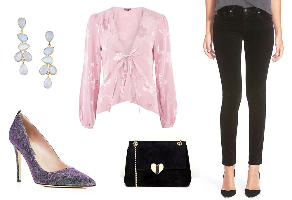 black-skinny-jeans-pink-light-top-blouse-earrings-black-bag-purple-shoe-pumps-howtowear-valentinesday-outfit-fall-winter-dinner-galentines.jpg