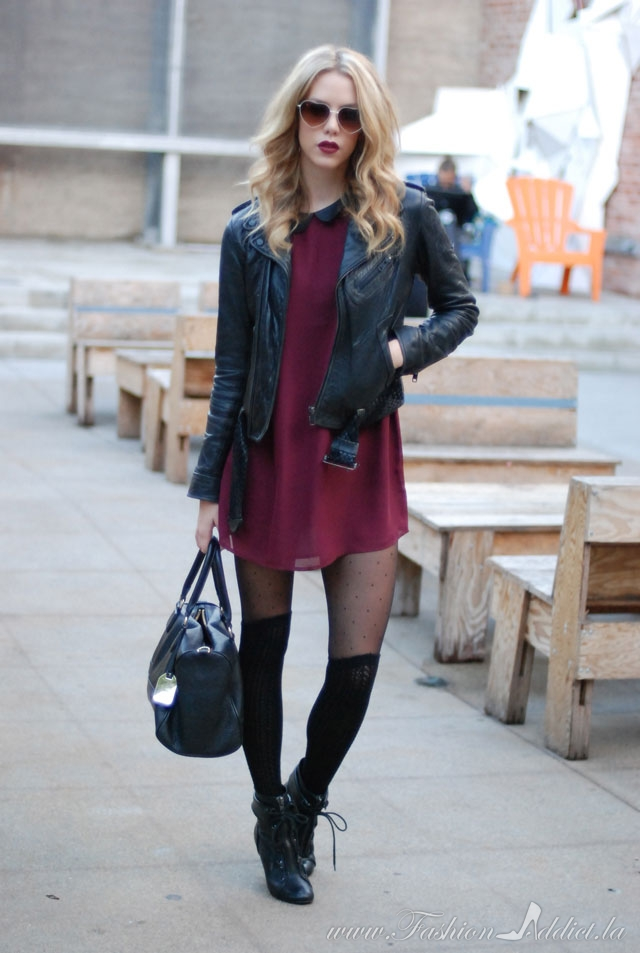 burgundy-dress-mini-black-tights-blonde-black-jacket-moto-black-bag-sun-howtowear-valentinesday-outfit-fall-winter-dinner.jpg