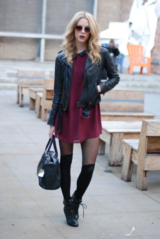 burgundy-dress-mini-black-tights-blonde-black-jacket-moto-black-bag-sun-howtowear-valentinesday-outfit-fall-winter-dinner.jpg