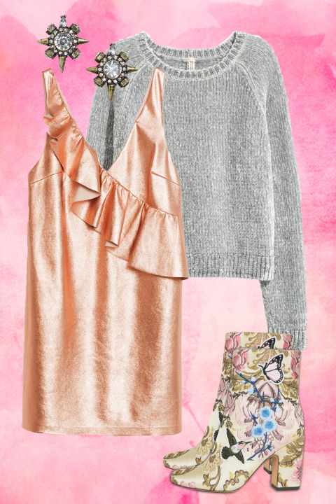 peach-dress-jumper-mini-gold-tan-shoe-booties-embroidered-grayl-sweater-studs-howtowear-valentinesday-outfit-fall-winter-dinner.jpg