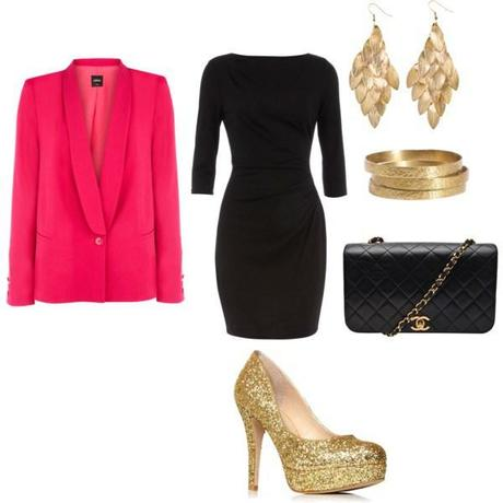 black-dress-bodycon-tan-shoe-pumps-gold-black-bag-earrings-bracelet-pink-magenta-jacket-blazer-howtowear-valentinesday-outfit-fall-winter-dinner.jpeg