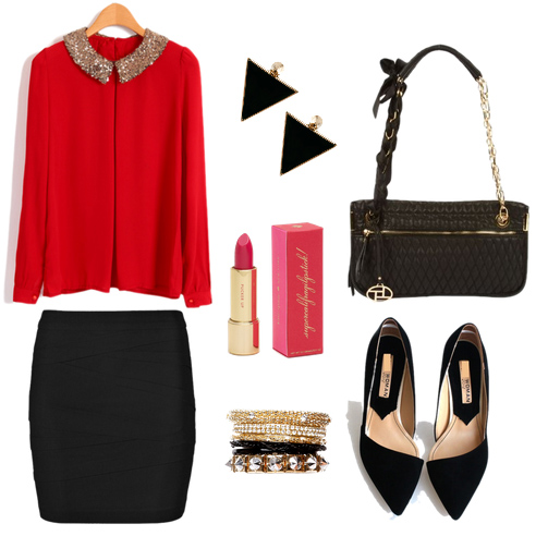 black-mini-skirt-red-top-blouse-earrings-bracelet-black-bag-black-shoe-pumps-howtowear-valentinesday-outfit-fall-winter-date-dinner.jpg