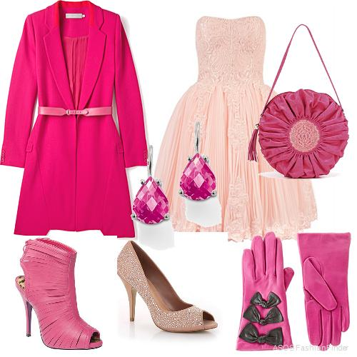 pink-light-dress-aline-strapless-earrings-pink-bag-gloves-pink-magenta-jacket-coat-tonal-howtowear-valentinesday-outfit-fall-winter-dinner.jpg