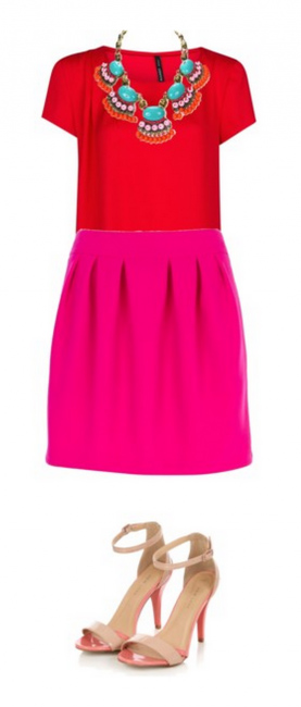 pink-magenta-mini-skirt-red-top-bib-necklace-turquoise-tan-shoe-sandalh-howtowear-valentinesday-outfit-fall-winter-dinner.jpg