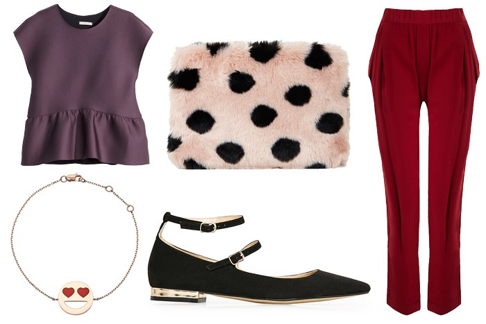 red-slim-pants-white-bag-clutch-black-shoe-flats-purple-royal-top-blouse-necklace-choker-polkadot-howtowear-valentinesday-outfit-fall-winter-dinner.jpg