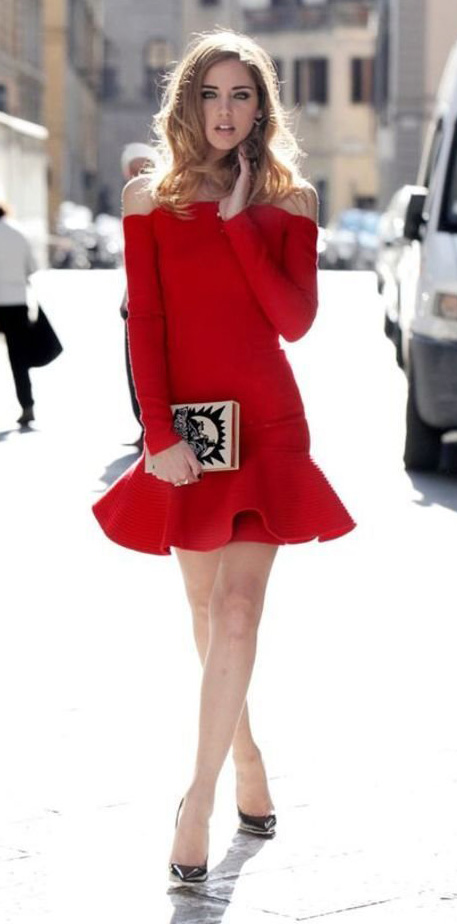 red-dress-mini-offshoulder-tan-bag-clutch-black-shoe-pumps-blonde-howtowear-valentinesday-outfit-fall-winter-dinner.jpg