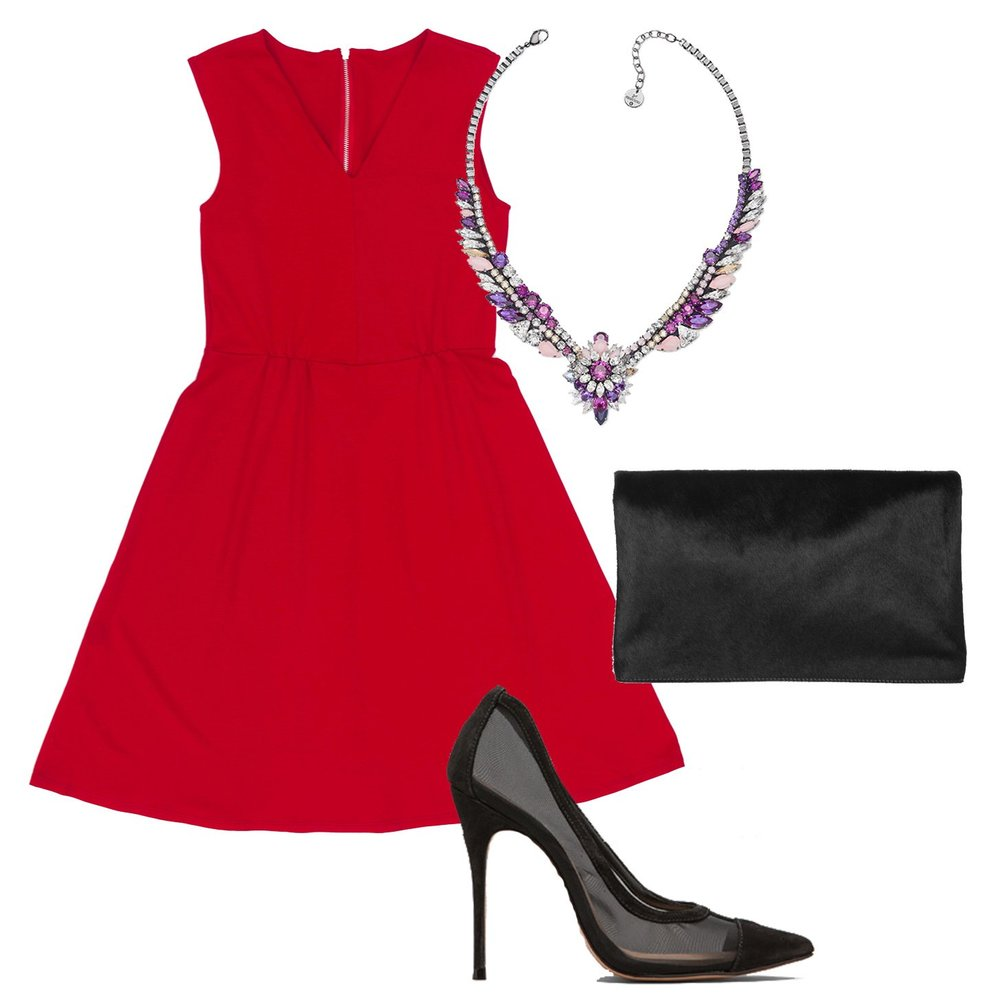 red-dress-aline-black-shoe-pumps-bib-necklace-black-bag-clutch-howtowear-valentinesday-outfit-fall-winter-dinner.jpg