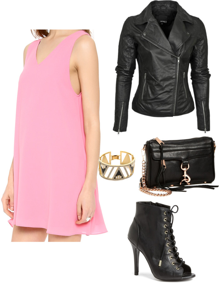 pink-light-dress-swing-mini-black-jacket-moto-black-bag-black-shoe-booties-bracelet-howtowear-valentinesday-outfit-fall-winter-dinner.jpg